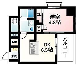 Osaka Metro御堂筋線 江坂駅 徒歩16分の賃貸マンション 2階1DKの間取り