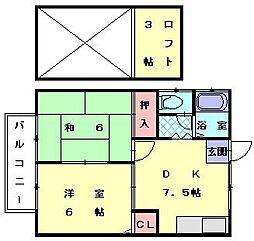 福岡県福岡市東区塩浜1丁目の賃貸アパートの間取り