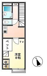愛知県長久手市東狭間の賃貸アパートの間取り