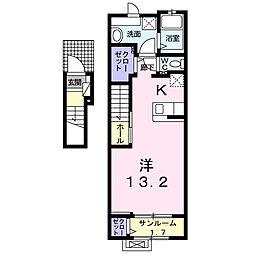 セレッソ松代 2階1Kの間取り