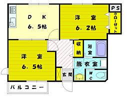 福岡県古賀市花見東3丁目の賃貸アパートの間取り