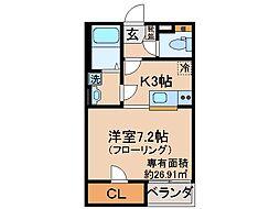 京都府京都市伏見区向島橋詰町の賃貸アパートの間取り