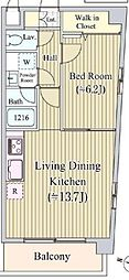 東京メトロ日比谷線 広尾駅 徒歩9分の賃貸マンション 3階1LDKの間取り