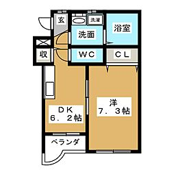 ツインズ前平II[2階]の間取り