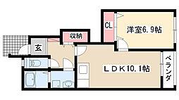 愛知県日進市折戸町笠寺山の賃貸アパートの間取り