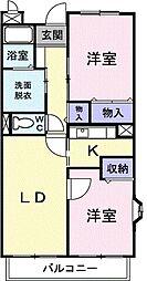 JR常磐線 ひたち野うしく駅 徒歩5分の賃貸マンション 4階2LDKの間取り