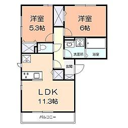 コンフォール湘南B 2階2LDKの間取り