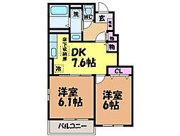 愛媛県松山市星岡3丁目の賃貸アパートの間取り