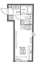 COCOCUBE KITA-SENJU 2階1Kの間取り