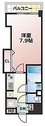Luxe長田(ラグゼナガタ) 5階1Kの間取り
