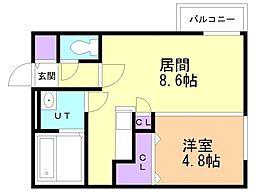 ecoa栄町 3階1LDKの間取り