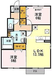 岡山県岡山市南区東畦丁目なしの賃貸アパートの間取り