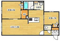 ファンコート堀越 弐番館 3階2LDKの間取り