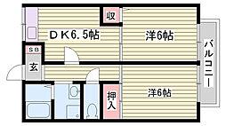 山陽電鉄本線 霞ヶ丘駅 徒歩22分の賃貸アパート 1階2DKの間取り