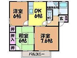 愛媛県松山市東野5丁目の賃貸アパートの間取り