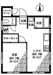 タブコートDee[3階]の間取り