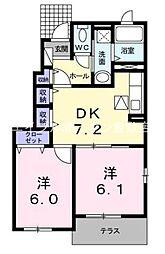 岡山県倉敷市玉島勇崎丁目なしの賃貸アパートの間取り