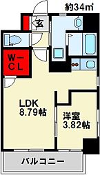 GALA PLATINUM COURT 6階1LDKの間取り