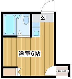 アヴァンス淀川-east 4階ワンルームの間取り