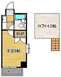 ロイヤルシャトー黒崎 6階1Kの間取り