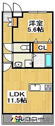 ユーミー田隈 4階1LDKの間取り