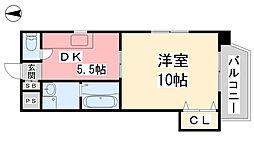 キャッスル千舟 2階1DKの間取り