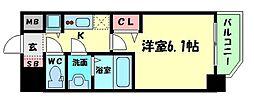 アクアプレイス天王寺II 6階1Kの間取り