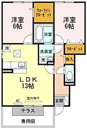香川県高松市中間町の賃貸アパートの間取り