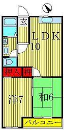 サンハイツ北柏B棟[2階]の間取り