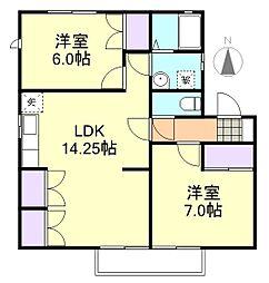 レジデンス岩田A棟[2階]の間取り