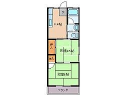 近鉄鳥羽線 池の浦駅 徒歩19分の賃貸アパート 3階2Kの間取り