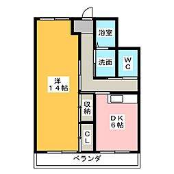 愛知県清須市朝日弥生の賃貸マンションの間取り