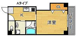 エテックUMIO 3階1Kの間取り