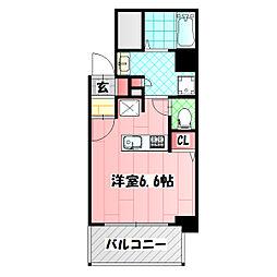 クレアート大阪トゥールビヨン 3階ワンルームの間取り