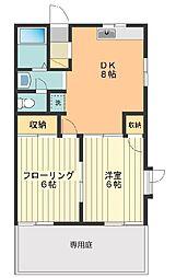 東京都羽村市五ノ神2丁目の賃貸アパートの間取り