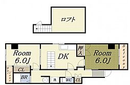 カサベルデ 6階2DKの間取り