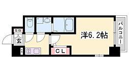 エスリード神戸兵庫駅アクアヴィラ 7階1Kの間取り
