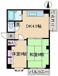東京都北区西ヶ原3丁目の賃貸マンションの間取り