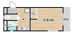 JR高徳線 阿波川端駅 徒歩28分の賃貸マンション 1階1Kの間取り