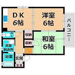 京阪本線 西三荘駅 徒歩8分の賃貸アパート 2階2DKの間取り