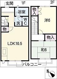 [タウンハウス] 愛知県瀬戸市福元町 の賃貸【/】の間取り