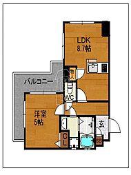 ラフォーレ六本松[202号室]の間取り
