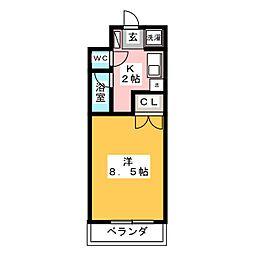 アドバンス竹越[6階]の間取り