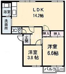 香川県高松市出作町の賃貸アパートの間取り
