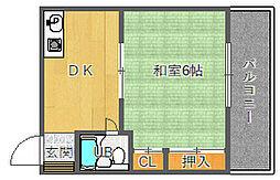 大阪府吹田市千里山西4丁目の賃貸アパートの間取り