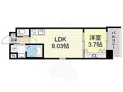 おおさか東線 南吹田駅 徒歩7分の賃貸マンション 1階1LDKの間取り