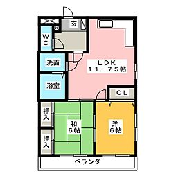 ユタカハイツ[3階]の間取り