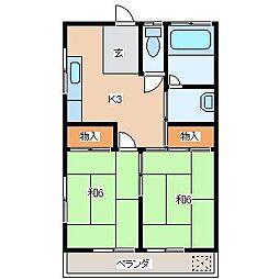 つきやマンション[102号室]の間取り