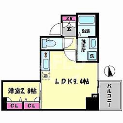 レオンコンフォート谷町九丁目 14階1LDKの間取り