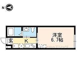 エム'ズ京都駅WEST 4階1Kの間取り